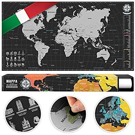 Cartina Mondo Gratta.Benehacks Planisfero Mondo Da Grattare Poster Mappa Del Mondo In Italiano Cartina Geografica Da Utilizzare Come Diario Da Viaggio Cartina Mondo Argento Nero 84 X 44 Cm Non Si Riesce Facilmente A Grattare