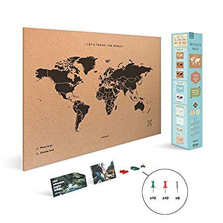 Cartina Mondo In Sughero.Miss Wood Map Xl Mappa Del Mondo Di Sughero 60 X 90 Cm Naturale Nero